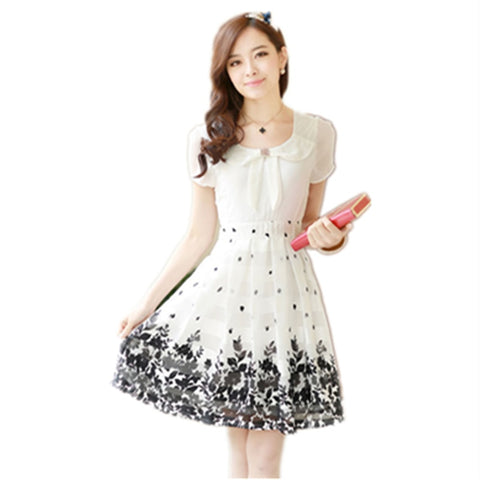 Short Sleeve Slim Floral Printed Women Dress