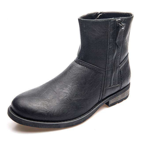 PU Leather Equestrian Zip Ankle Boots Men