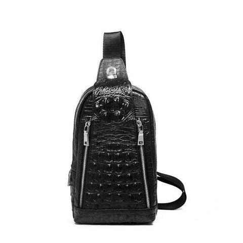 Crocodile Pattern Leather Casual Men Shoulder Bag
