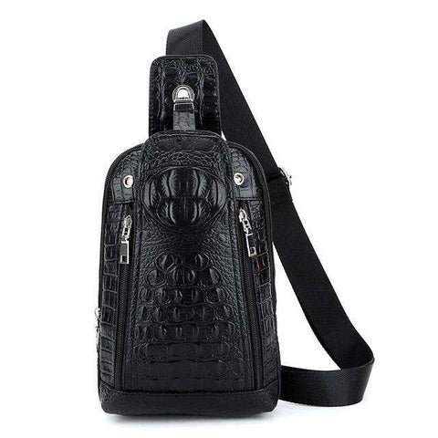 Alligator-Striped Leather Shoulder Bag Men's