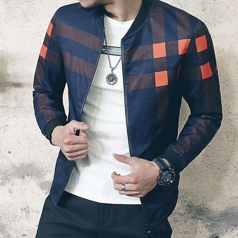 Collar Jacket Men Plaid Bomber Jackets Windbreaker