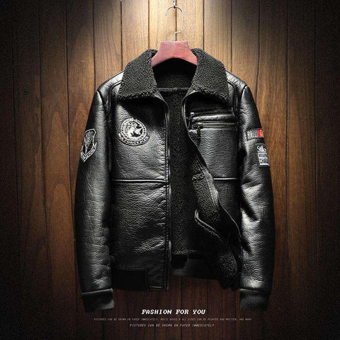 Men Faux Thick Warm Plush Liner PU Leather Jacket