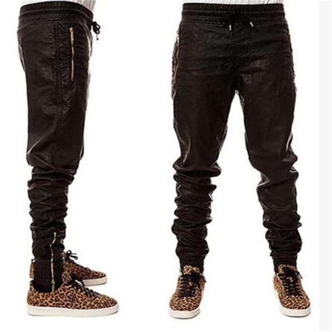 Black Joggers Dance Urban Clothing Mens Faux Leather Pants