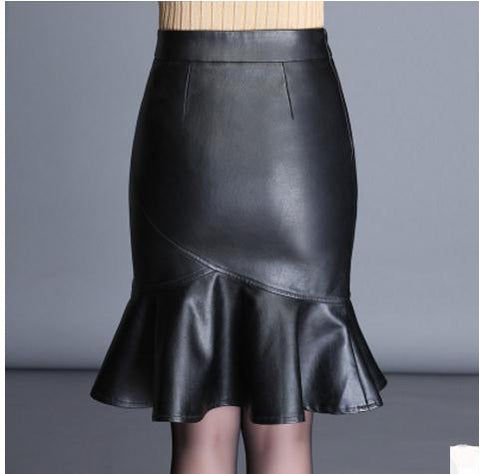 Womens Pu Faux Leather High Waist Trumpet Skirts