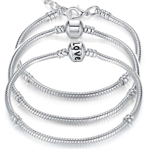 5 Style Silver Plated Love Chain Bracelet women