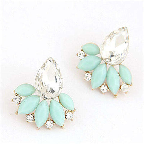 Acrylic Flower Crystal Gem Cubic Zircon Stud Earrings