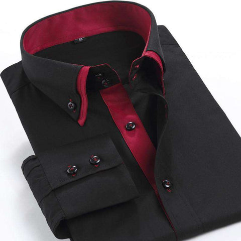 High Quality Long Sleeve Double Collar Casual Shirts Men