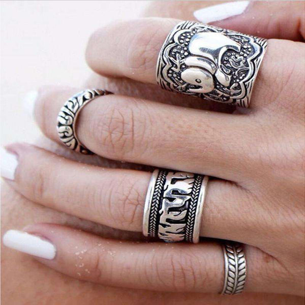 Anti Silver Color Rings Set for Women