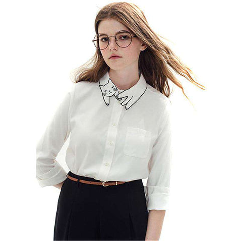 Cute Cat Embroidery Collar Vintage White Blouse Long Sleeve Shirt Women