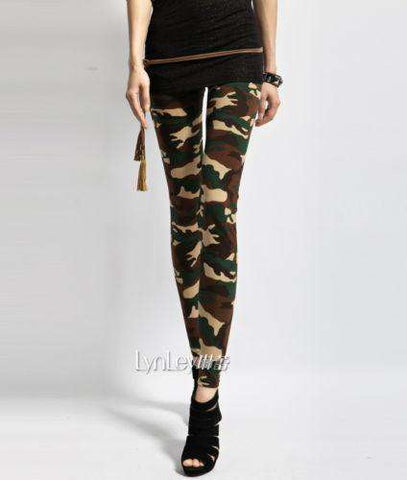 Army Green Camouflage Printed Elastic Slim Pants Trousers