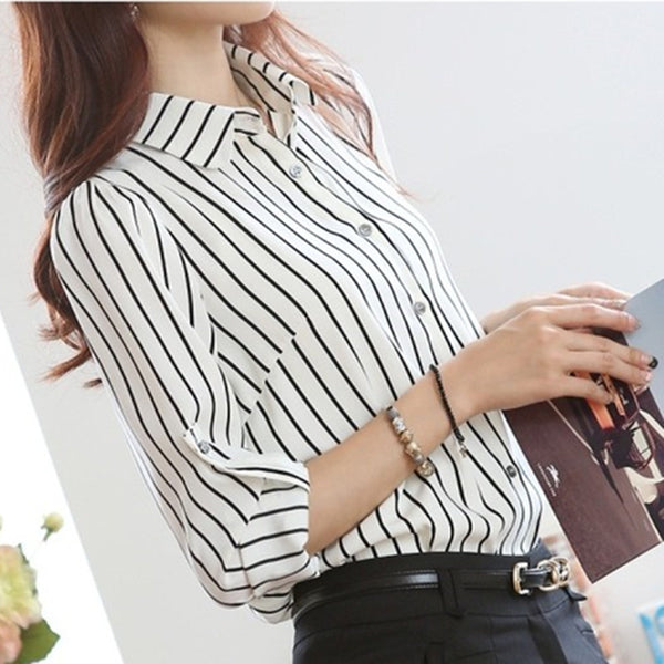 Women Blouses Long Sleeve Office Elegant Striped Shirts