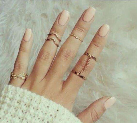 Gold Plated Stacking Midi Finger Knuckle Ring Set