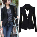 Black Single Button Single Breasted Cotton Blazer