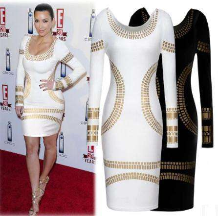 Long Sleeve Formal Golden Sequins Pencil Dress White