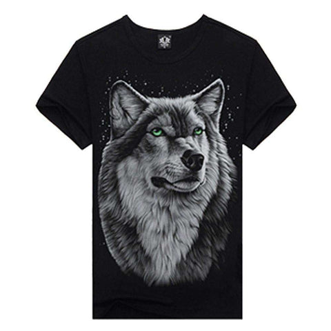 Men Cotton Tops Tee Wolf Skull Printed Swag Short Sleeve