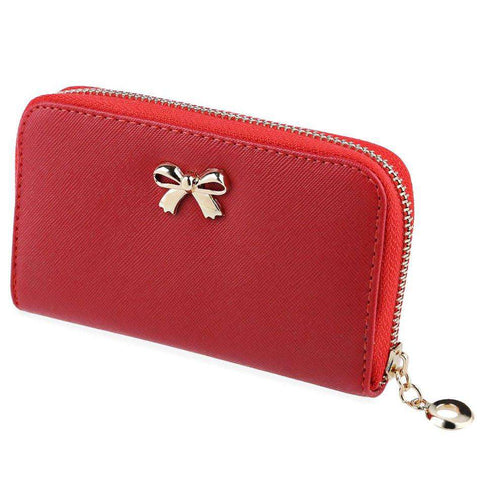 Bowknot Purse PU Leather Wallet Women