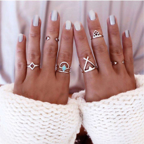 Anti Silver Stackable Midi Rings Set