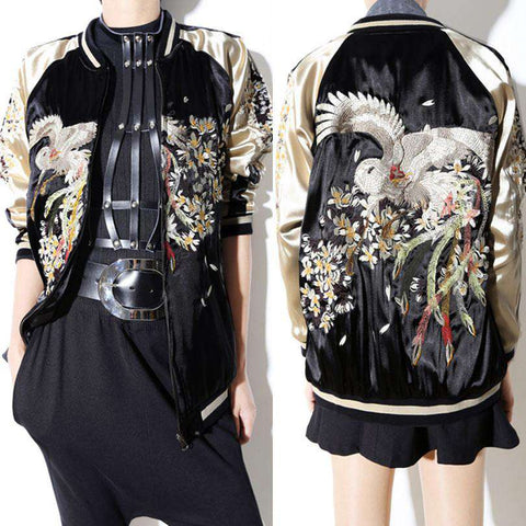 Black printed Bomber Jacket Women