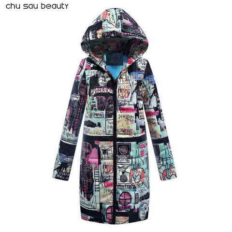 Plus Size Cotton Padded Long Thick  Lining Parka Women