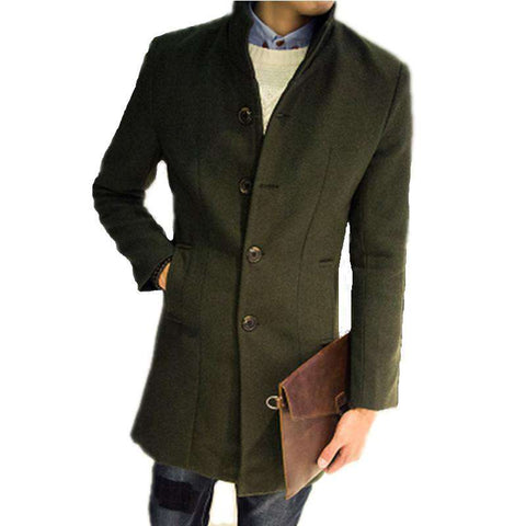 Long Slim Casual Windbreaker Jacket Men Green Wool Coat