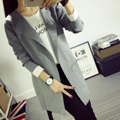 V-Neck Casual Knitted Cardigan Full Length for Women