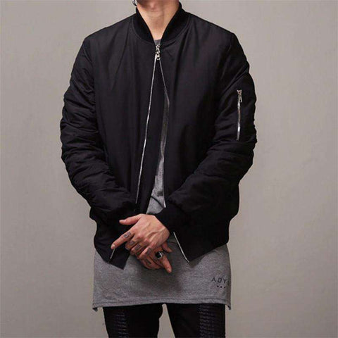 Bomber Jacket Men Hip Hop Slim Fit Coat