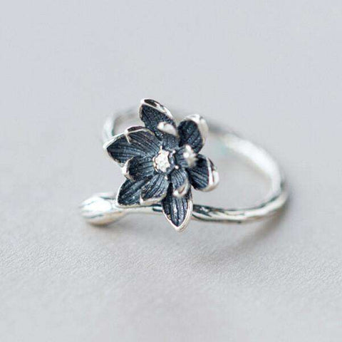 Lotus Flower 925 Sterling Silver Open Rings For Women