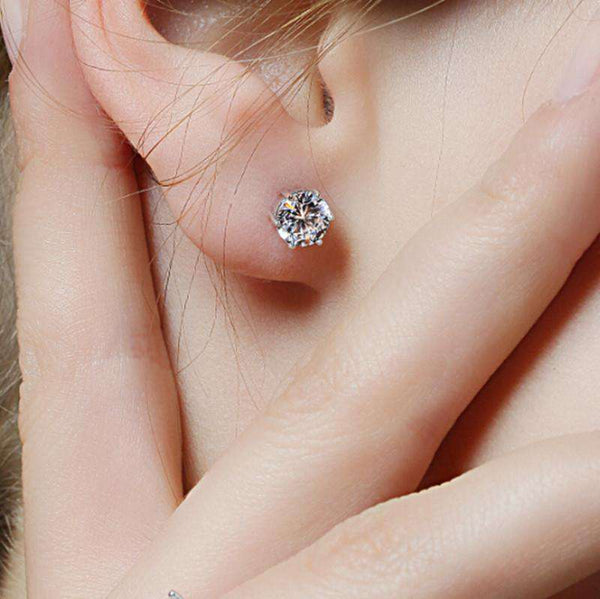 Silver Plated Ear Stud Earring Crystal With Stone