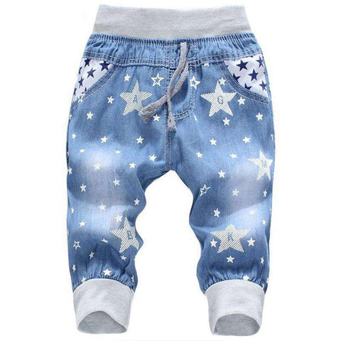 Elastic Waist Straight Kids Bear Pattern Girls Denim