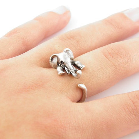 Women  Elephant Animal Wrap Ring in Antique Silver