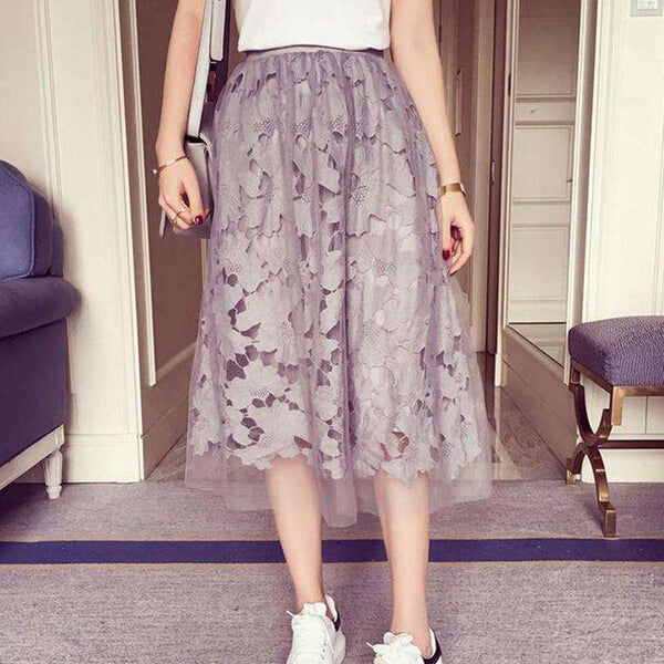 Elastic waist Lace flower length skirt for women