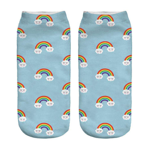 Cute 3D Rainbows Printed Socks for Women