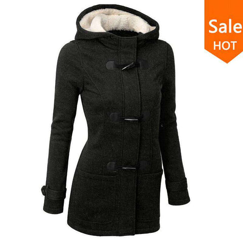 Hooded Women Grey Outwear