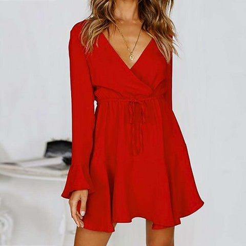Deep-V Rope Straps RED Long Sleeve Mini dress Women