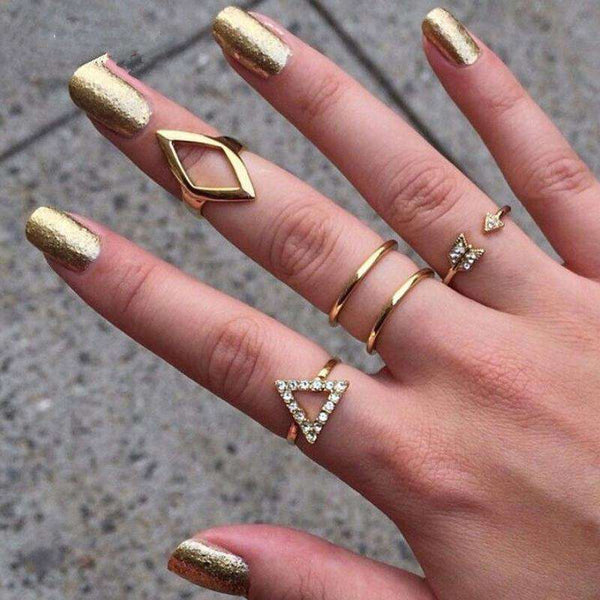 Crystal Rings Set Stacking Gold Geometry