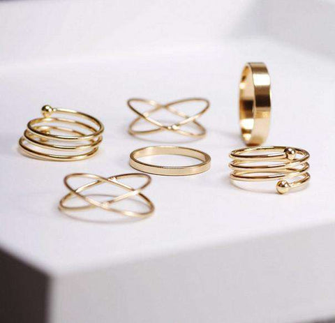 6Pcs Trendy Gold Plated Midi Rings