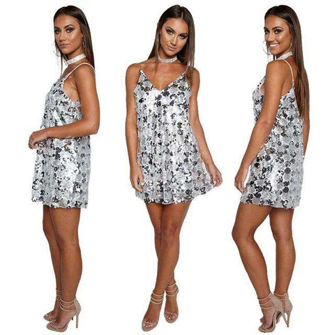 Sequined V Neck Summer Party Mini Vestidos