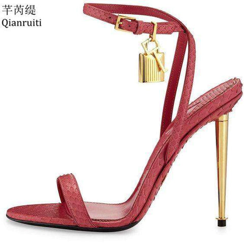 Ankle Strap Leather High Heels Sandals Women