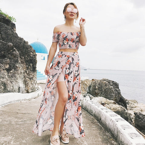 Two Piece Floral Print Elegant Long Maxi Dress