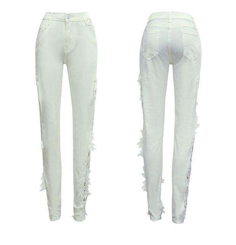 Hollow Out Skinny Casual Denim Pencil Pant Women
