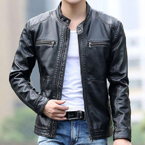 Men's Slim Short Leather Jackets Stand Collar Coats
