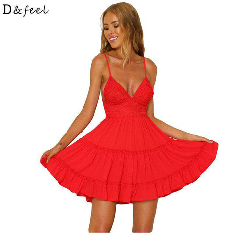 Deep V Neck Backless Sexy Mini Party Dress Women