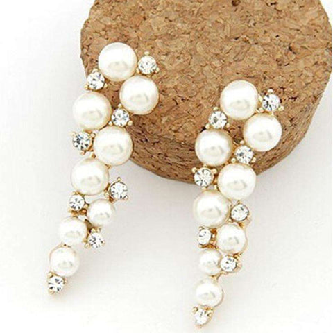 Crystal and Pearl Drop Long Earrings For Woman