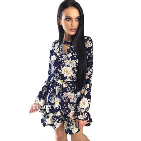 Choker V-Neck Ruffles Floral Printed Long Sleeve Dress