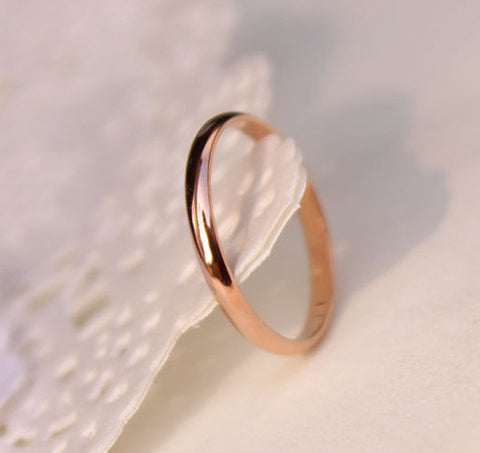 Titanium Steel Rose Gold Plated Anti-Allergy Wedding Ring Woman