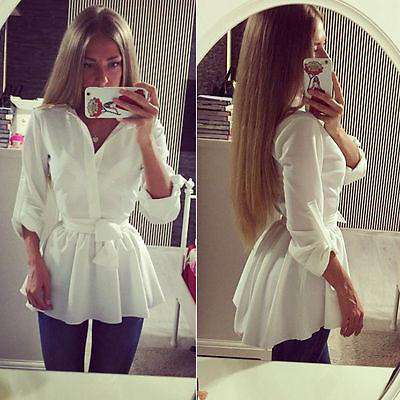Women's Blouse Shirt Long Sleeve Button Down Casual Tops Slim Dress