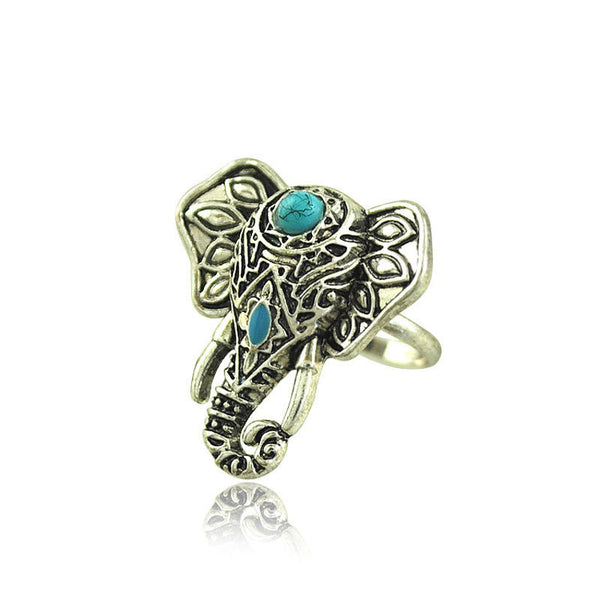 Silver Plated Boho Unique Design Elephant Ring Women