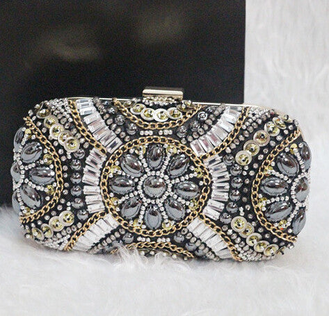 Women's Crystal Evening Retro Beaded Clutch Bags