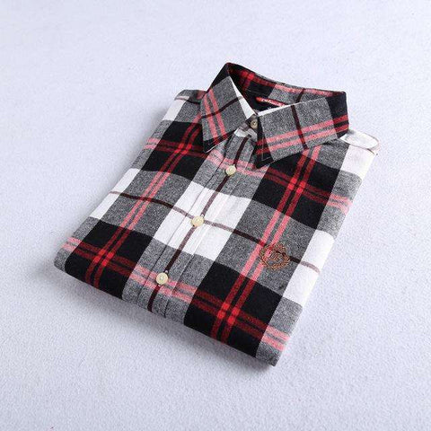 Flannel Plaid Long Sleeve 100% Cotton Casual Shirt