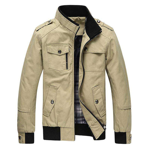 Jacket Men's Coats Autumn Casual Army Military Washed 100%Cotton